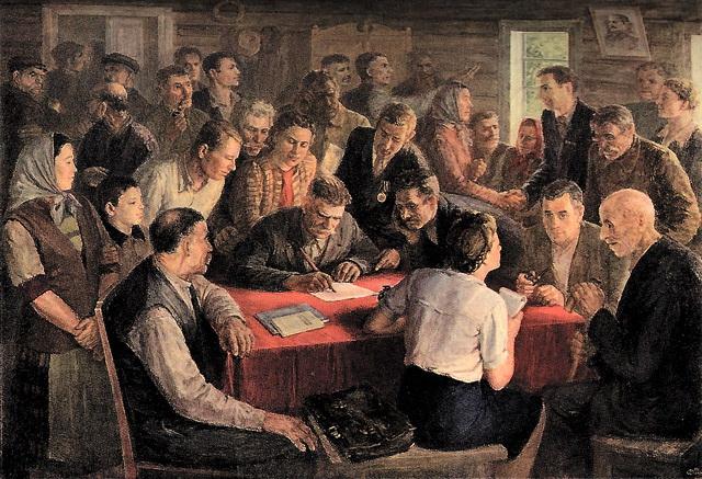 В. Дилка. Картина: «Собрание колхоза», 1930