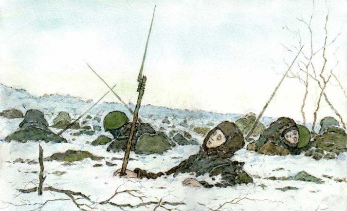 Базуев Денис. После атаки. Волховский фронт, 1942 г.