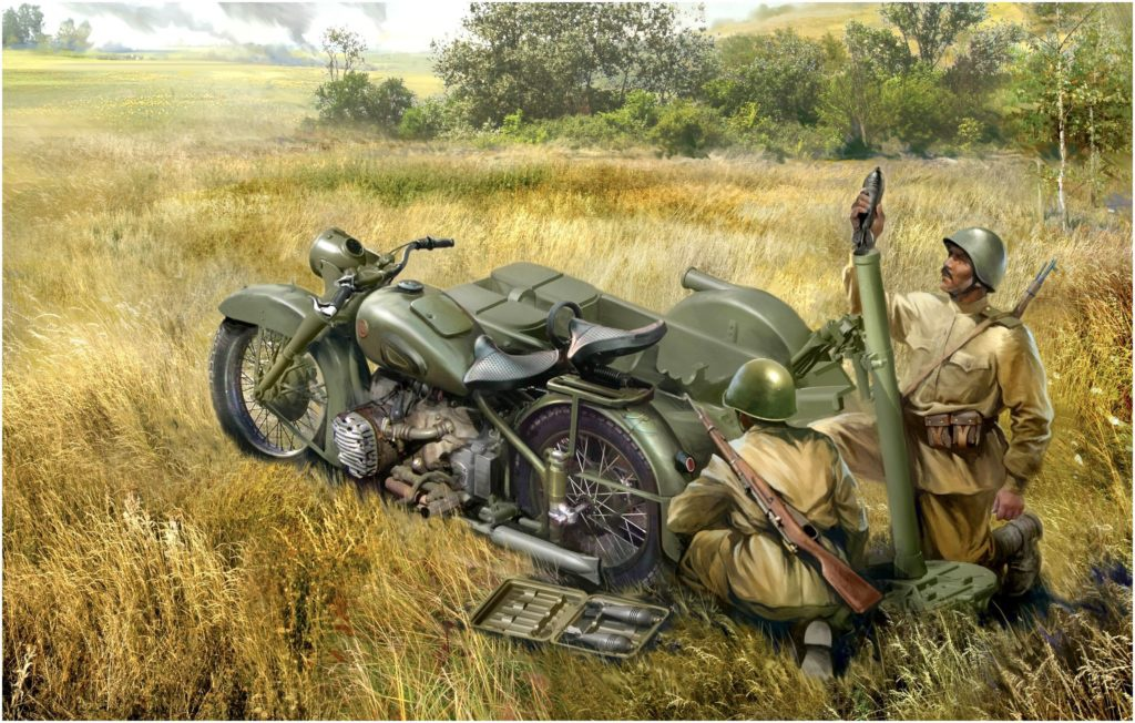 Хивренко Иван. Мотоцикл М-72 с 82мм минометом.