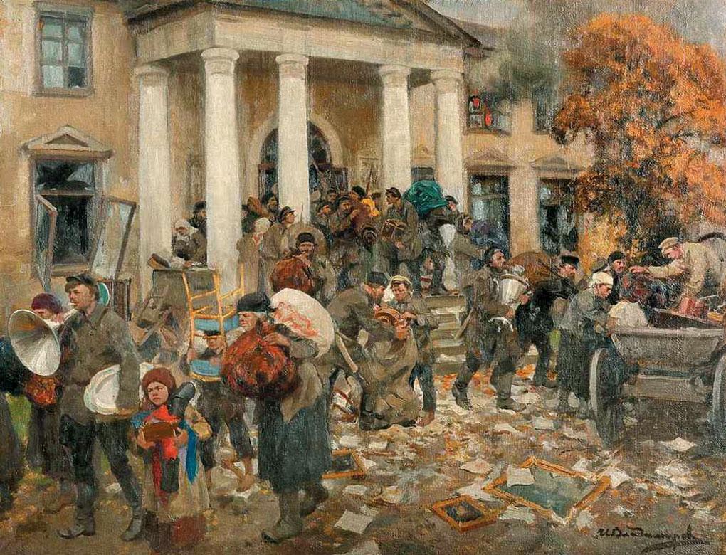 Худ. Иван Владимиров. Разгром помещичьей усадьбы, 1926