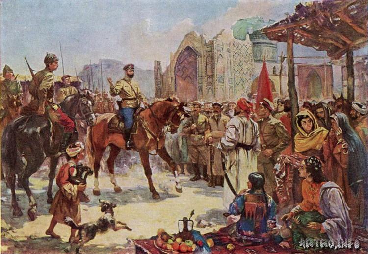 Нурмухаммедов. Выступление М.В. Фрунзе перед ополченцами в Самарканде