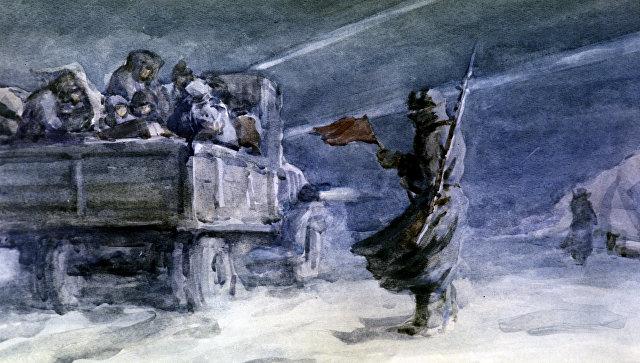 Репродукция картины Дорога жизни, Ладога. Художник С.С. Бойм .