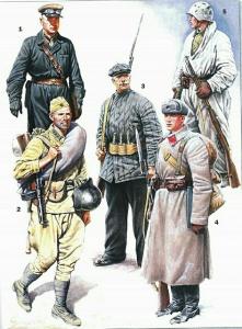 1941-42 гг 1- полковник автобронетанковых войск (АБТВ). 2- старший сержант стрелковых частей Красной Армии в летней полевой форме и походном снаряжение, вооруженный 7,62-мм пистолет-пулеметом Дегтярёва. 3- боец рабочего батальона. 4- ефрейтор стрелковых частей в зимнем обмундировании (парад на Красной площади 7 ноября 1941 года). 5- пехотинец в зимнем маскхалат вооруженный 7,62-мм винтовкой Мосина обр. 1891/1930 гг. (Красная Армия ВВС, ВМФ, НКВД СССР 1939-45 г.г )