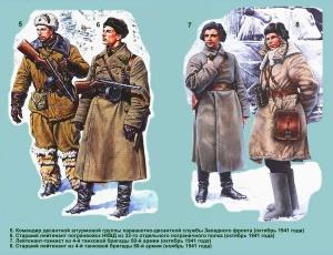 Униформа воинов Рабоче-крестьянской Красной Армии: танковые, десантно-штурмовые, кавалерийские и горно-стрелковые подразделения (осень 1941 - осень 1942 года)