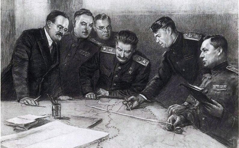 В ставке Верховного Главнокомандующего. С картины художника Финогенова.