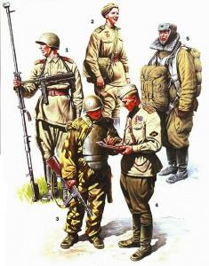 1943-44 гг 1- сержант-пехотинец с 14,5-мм противотанковым ружьём Дегтярёва (ПТРД-41) и трофейным 9-мм пистолет-пулеметом МР-40 2- ефрейтор медицинской службы в полевой форме 3- боец штурмовой инженерно-саперной бригады РВГК в стальном нагруднике СН-42, вооруженный 7,62-мм пистолет-пулеметом ППШ 4- старший лейтенант из подразделения истребительно-противотанковой артиллерии (ИПТА) 5- боец ВДВ Красной Армии ( с 1944 года в составе ВВС) в зимней форме и основным парашютом ПД-41-1 и запасным ЗП-41