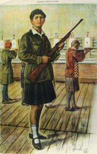 Девушки, учитесь стрелять (1929). Да здравствует всеобщее военное обучение. Советский довоенный плакат.