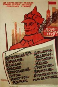 Да здравствует Красная армия - зоркий часовой советских границ (1932). Советский плакат