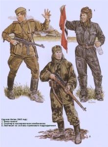 Курская битва (1943) 1. Воин-танкист 2. Снайпер в маскировочном комбинезоне 3. Лейтенант из состава стрелкового подразделения