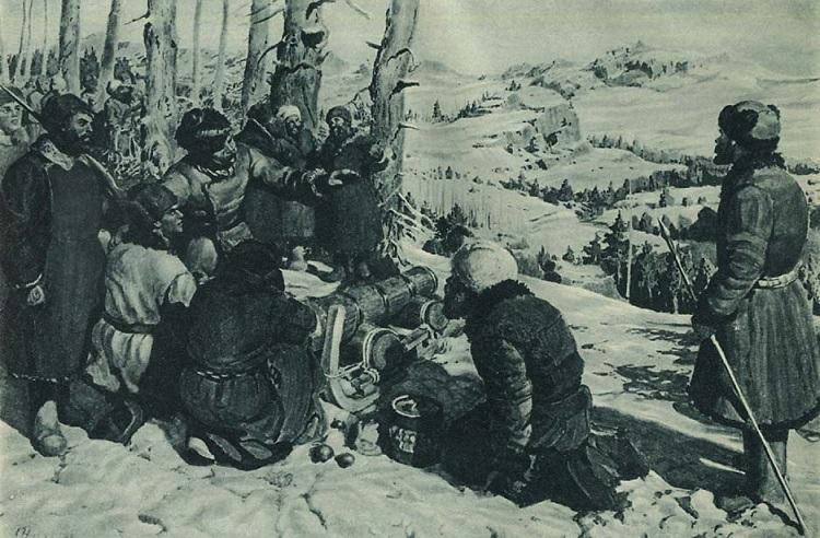 Красные партизаны в засаде. Картина художника А. Никулина.