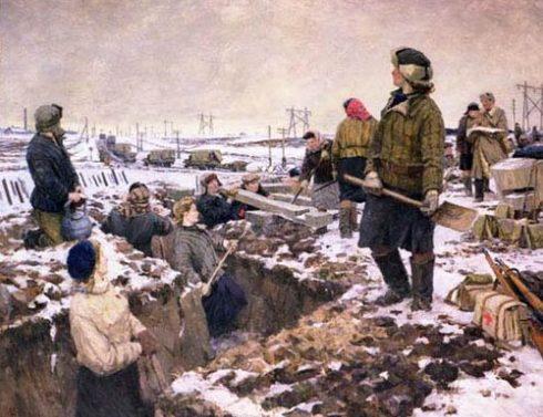Осенев Николай. Комсомольцы на строительстве оборонительных рубежей под Москвой.
