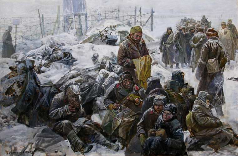 В немецком лагере для военнопленных (В. Сафронов)