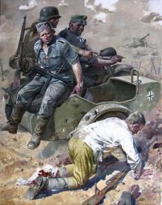 Раненый красноармеец и немецкий патруль (В. Сафронов)