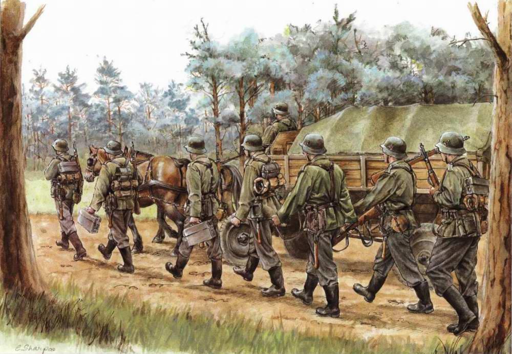Немецкая пехота походным маршем вступает на территорию СССР (Elizabeth Sharp)