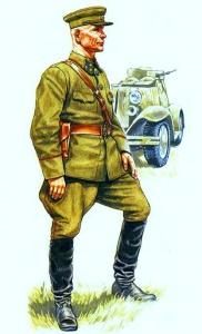 командующий 19 армией Западного фронта генерал-полковник И.С.Конев в походной форме военного времени. Август - сентябрь 1941 г. Рисунок А. Каращука