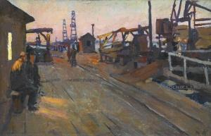Казанский Михаил Сергеевич (1932-2003) «Вечер на нефтеперерабатывающем заводе» 1958