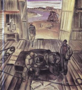 Ващенко Гавриил Харитонович (1928-2014) «Нефтяники Полесья. Бурильщики» из цикла «Земля и люди Полесья» 1974
