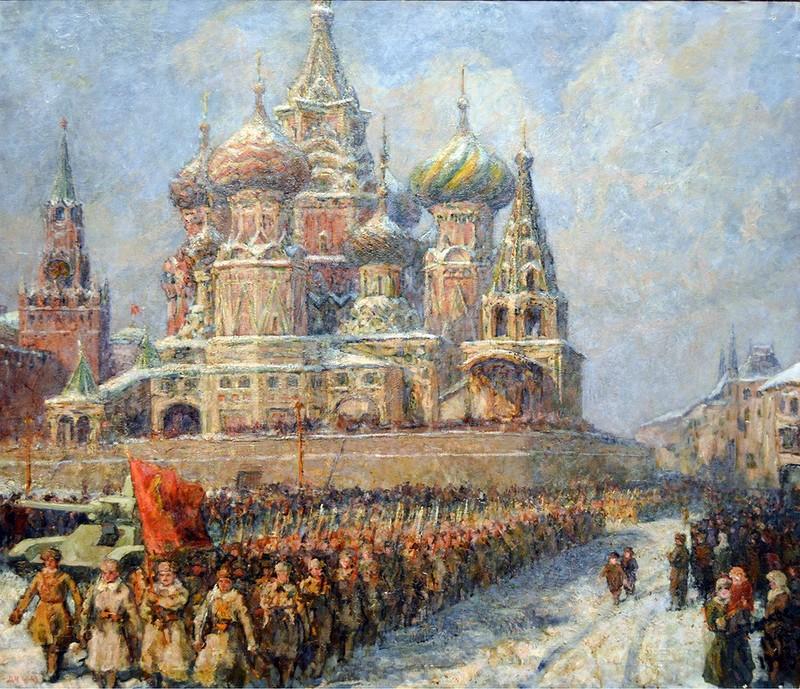 Черкес Даниил Яковлевич (Россия, 1899 - 1971) «На фронт. Зима 1941» 1943.
