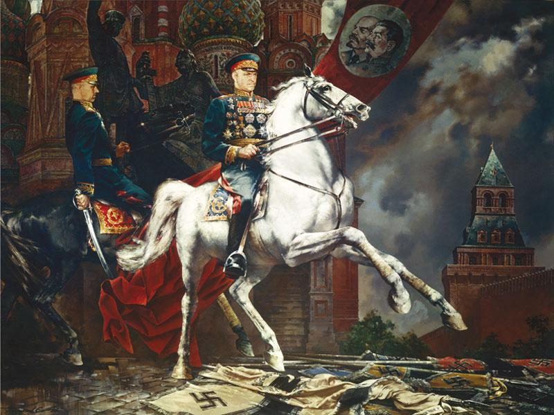 Присекин С. Н. Маршалы Советского Союза Г.К.Жуков и К.К.Рокоссовский на Красной площади 24 июня 1945 г