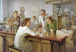 Ульянов Николай Иванович (1922-1990) «Выполнение тестов в лаборатории» 1951