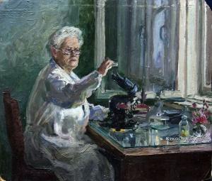 Аристова Ирина Федоровна (1926-2010) «В лаборатории» 1950-е