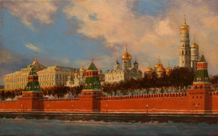 Золотые купола.Работы художника Сергея Глушкова.