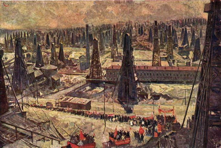 Ф.А. Модоров. Празднество на нефтяных промыслах. 1930