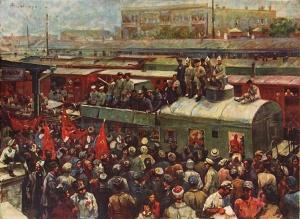 Ф.А. Модоров. Встреча рабочими Баку красного бронепоезда. 1931