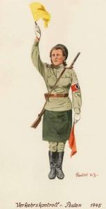 Дорожная регулировщица на посту - 1945 г. Советские солдаты глазами немецкого художника Герберта Кнотеля
