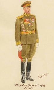 Генерал-майор в парадной форме одежды - 1946 г. Советские солдаты глазами немецкого художника Герберта Кнотеля (Herbert Knotel)