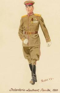 Лейтенант пехоты в парадной форме одежды - 1950 г. Советские солдаты глазами немецкого художника Герберта Кнотеля (Herbert Knotel)
