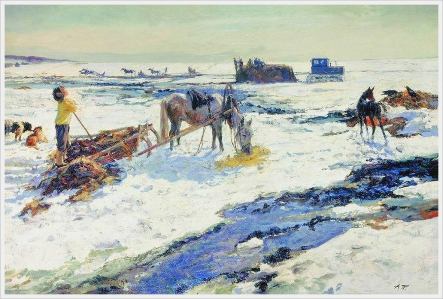 Пластов Аркадий Александрович (Россия, 1893-1972) «Деревенский март» 1968