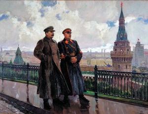 Герасимов, Александр Михайлович (1881-1963). И. В. Сталин и К. Е. Ворошилов в Кремле, 1938. ГТГ