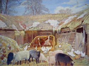 Климентов Михаил Иванович (1889-1969. Крестьянский двор, акварель.