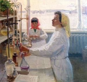 Голубцов Алексей Михайлович (Россия, 1924) «В лаборатории» 1975