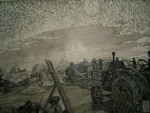 Молотьба в колхозе.1933г. Офорт, 51,9х35,5. Климентов Михаил Иванович (1889-1969)