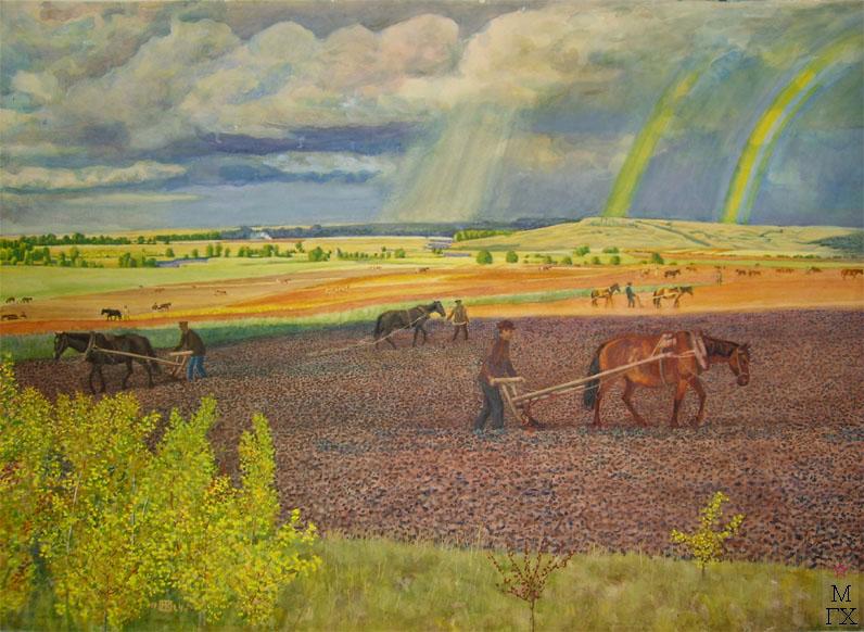 Климентов Михаил Иванович (1889-1969). Под озимь. Труд на пашне. (Три радуги) 1924 г. акварель