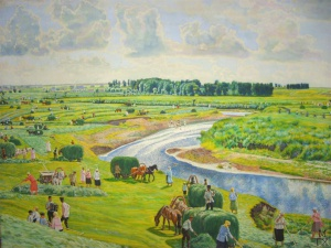Веселый покос. 1928 г., бумага, акварель, 47х64