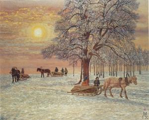 Зимнее утро. 1943. Акварель. Климентов Михаил Иванович (1889-1969)