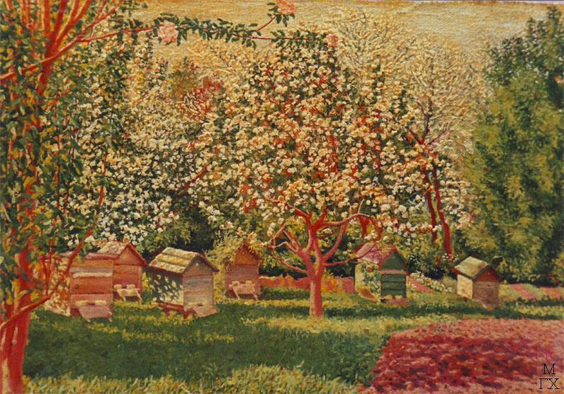 Цветение яблонь. Масло, холст. 21х13. Климентов Михаил Иванович (1889-1969)