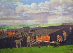 Работа в поле 1942г, акварель 57, 8х 39,3. Климентов Михаил Иванович (1889-1969)