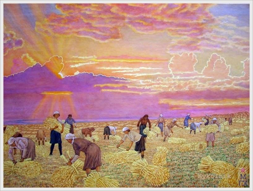Климентов Михаил Иванович (Россия, 1889-1969) «Уборка хлеба» 1948