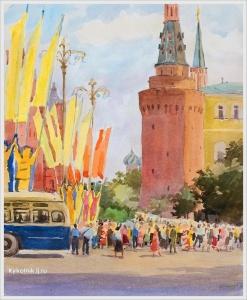 Купецио Ксения Конрадовна (Россия, 1911–1997) «Манежная площадь в дни фестиваля» 1957