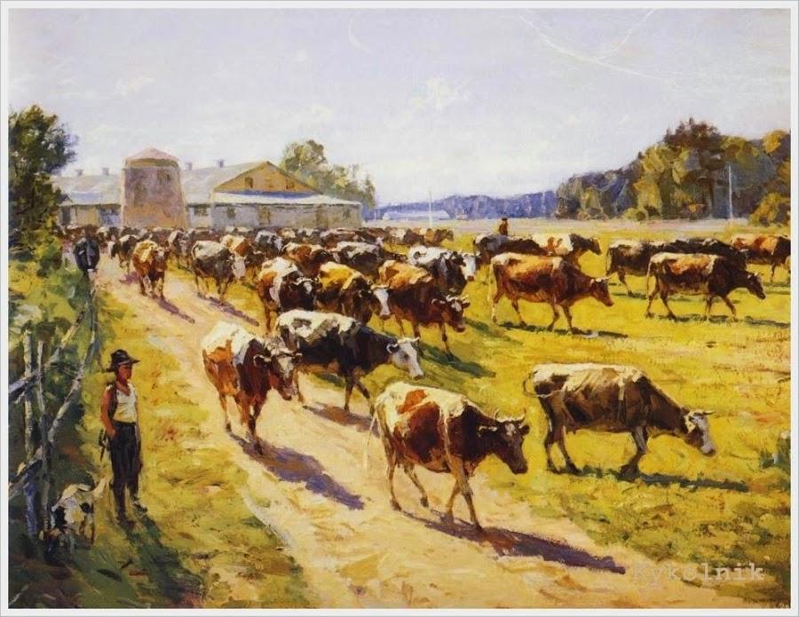 Марков Павел Георгиевич (Россия, 1910-1978) «Утро на колхозной ферме»