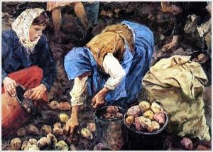 Пластов Аркадий Александрович (Россия, 1893-1972) «Сбор картофеля» 1956