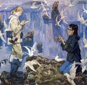 Петров-Маслаков Всеволод Михайлович (Россия, 1930) «Учёные. Заповедное Беломорье» 1985