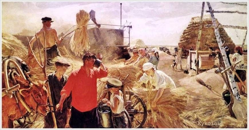 Пластов Аркадий Александрович (Россия, 1893 - 1972) «Обмолот» 1949