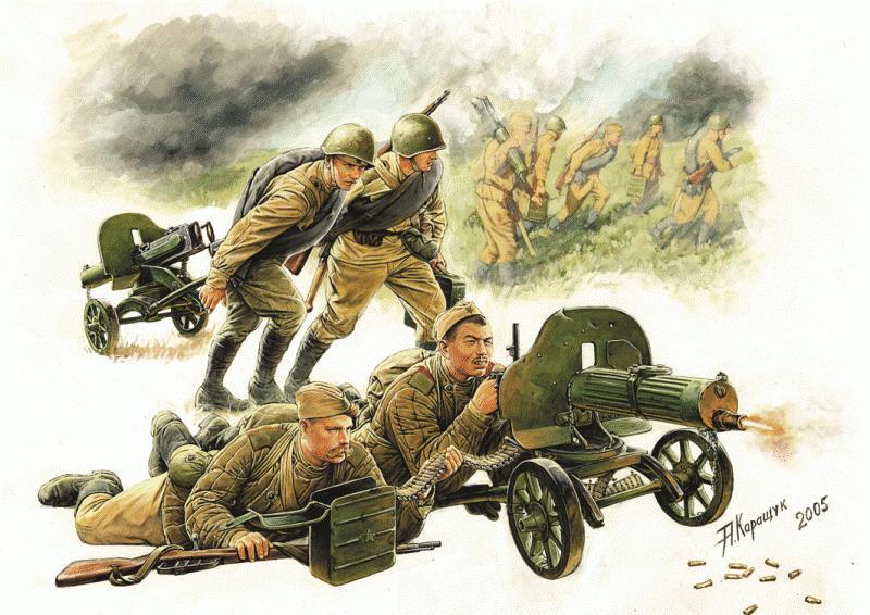 Советские пулеметчики. Рисунки А. Каращука