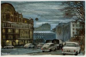 Винокур Владимир Исаакович (Россия, 1927) «Театральный проезд (сумерки)» 1962