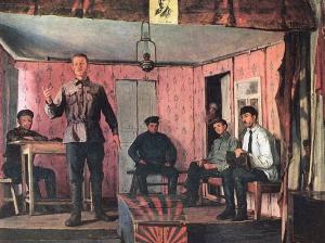 Художник Ефим Михайлович Чепцов. Заседание сельской ячейки» (1924)